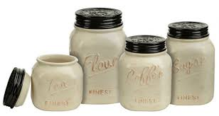 mason jar canister set 4 pc kitchen counter storage ceramic sugar flour ivory