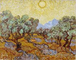 vincent van gogh paintings for olive trees with yellow sky and sun