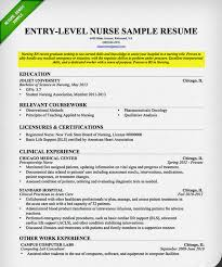 Entry Level Nurse Sample Resume Of Nursing Rn With Education In