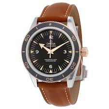 omega seamaster 300 black dial brown leather men s watch 233 22 41 21 01 002