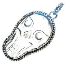 ana silver co white quartz skull pendant 2 925 sterling silver handmade
