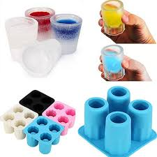 silicone 4 cup shaped ice cube shot glass freeze mold mould maker tray bar drink