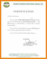 Example Of A Certificate Of Employment Certificate Of Employment Salary Under Fontanacountryinn Com