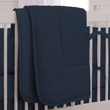 image of solid navy 3 piece crib bedding set carousel design yellow bedding sets for