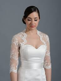 Ivory 3 4 Sleeve Bridal Embroidered Lace Wedding Jacket