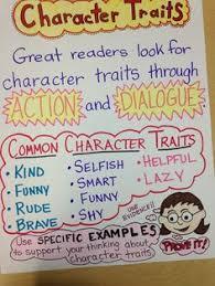 reading mon core third grade character traits anchor chart