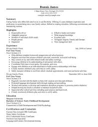 Full Time Nanny Resume Sample