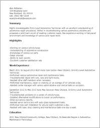 Automotive Technician Resume Stunning Professional Entry Level Automotive Technician Templates to Showcase