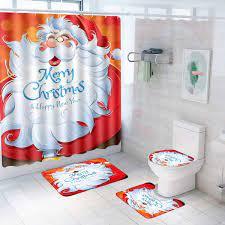 Amazon Com Patimate Christmas Bathroom Sets Decorations Santa Toilet Seat Cover Non Slip Christmas Bath Mat Set Rugs Christmas Santa Shower Curtain Christmas Bathroom Sets Decor With Merry Christmas Theme Furniture Decor