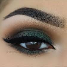 beautiful brown eyes with green eyeshadow makeup