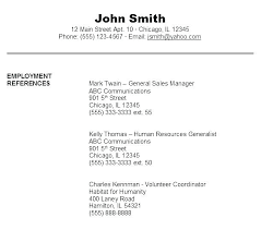 Examples Of References For Resume Sample References For Resume