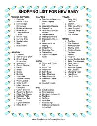 Printable New Baby Shopping List