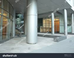 office glass windows. office building lobby with glass windows and columns