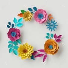 Paper Flower Frame 3d Render Digital Illustration Abstract Frame Colorful Paper