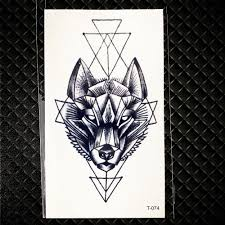Amazoncom Geometry Cat Elk Wolf Temporary Tattoo Women Body Arm