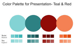 Red Ppt Color Palette For Presentation Teal And Red Template