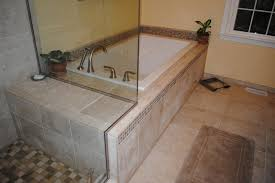 drop in tub. White Drop In Tub, Tile Floor, Tub Surround, And Shower Traditional-bathroom S