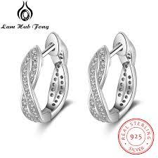 braided design 925 sterling silver hoop earrings for women cubic zirconia paved twisted earrings whole jewelry ea102007