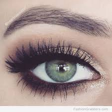 gold and brown pretty green eye makeup