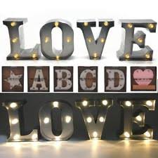 vintage style metal light up letters free standing or wall hanging on metal lettering wall art with metal letters home decor ebay