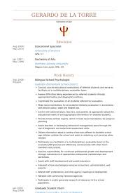 Bilingual School Psychologist Resume samples