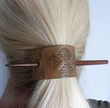 hair stick with hand stamped leather ponytail holder