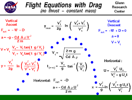 computer drawing of ballistic flight with the equations that describe the motion including drag