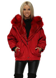 red hooded puffer jacket with detachable faux fur