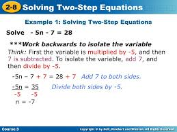 example 1 solving two step equations