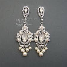 chandelier style earrings chandelier bridal earrings rhinestone pearl wedding by xinxinemin