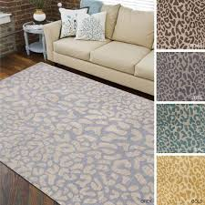 modern hand tufted jungle animal print wool area rug 8 x 11 free inside leopard