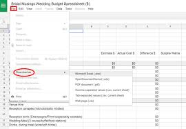 wedding spreadsheet the wedding budget bridal musings