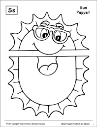 Sun Template Printable The Letter S Sun Puppet Printable Cut Pastes Arts And