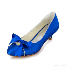 Royal Blue Wedding Dress Shoes 2016 Bridal Low Heel Heel Kitten
