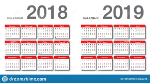 Year To Year Calendar Year 2018 And Year 2019 Calendar Vector Design Template Simple And