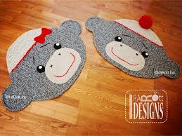 sock monkey animal rug or nursery mat carpet crochet pattern by irarott