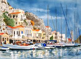 paintings of greek islands point of no 23