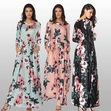 New Listing <b>Hot Sale Fashion Women</b> Print Floral Long Sleeve Maxi ...