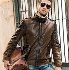 men s real leather jacket pigskin vintage genuine leather face fur leather coat