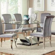 dining room furniture chairs. Dining Table Chairs Chrome Plated Coaster Bellagio Furniture Store Houston Texas Room