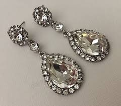 long rhinestone earrings wedding earrings with pear shape teardrop dangle in silver and clear chandelier earrings