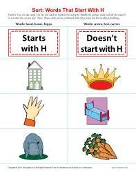 sort words that start with h