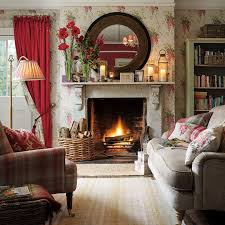 this is such a cheerful family room with lovely flowered wallpaper and pops od red color brilliant 14 red furniture