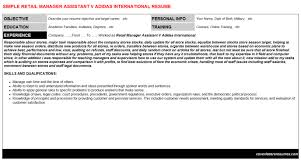 Retail Manager Assistant V Adidas International Resume & Cover ...