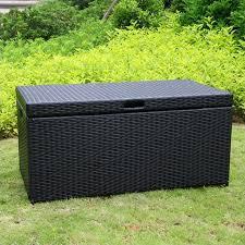 jeco wicker patio storage deck box in black