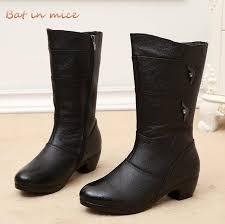 black snow boots fashion warm pu leather winter mid calf boots women mid calf mid heel las shoes warm plush insole g437 boots leather boots from