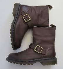 nib dr martens meg darkened mirage leather brown ankle biker boots uk 8 us 10