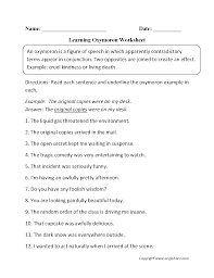 englishlinx com homophones worksheets englishlinx com board oxymoron figurative language worksheets