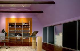 elegant office. The Picture Depicts An Office With A Desk, Shelf Compartments And Drawers Elegant