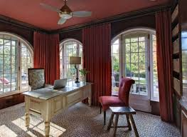 curtains for home office. Home Office With Red Curtains : Decorating In Your House For S